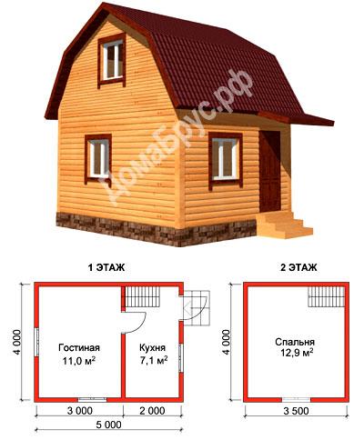 "Проект дома из бруса 4х5 - Комплектация ""Стандарт"""