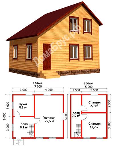Проект дома 6 х 7 - Дачный дом